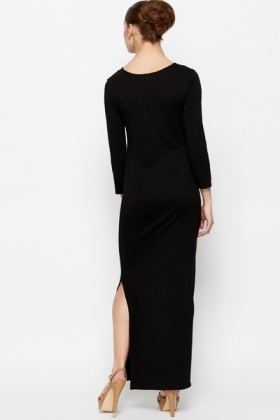 Slit Hem Maxi Bodycon Dress