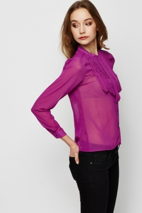 Pleated Neckline Purple Blouse