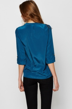 Satin Feel Royal Blue Blouse