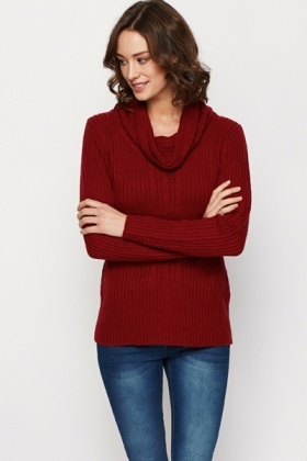 Cable Knit Cowl Neck Jumper