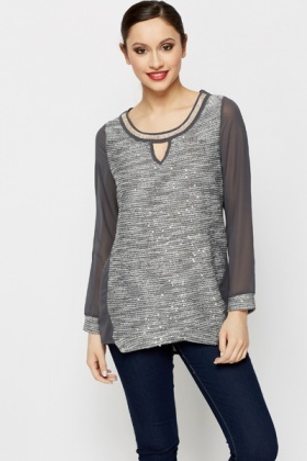 Diamante Collar Metallic Knit Top
