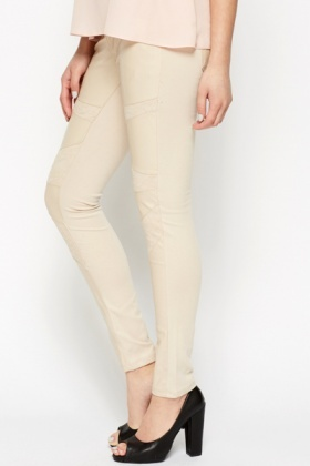 Lace PU Panel Beige Treggings