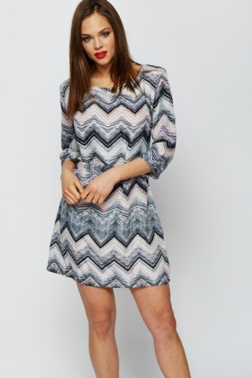 Zig Zag Stripe Tunic Dress
