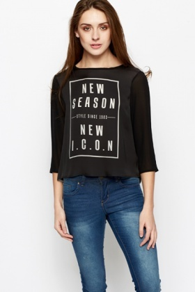 New Season Slogan Chiffon Top