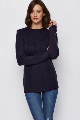 High Neck Cable Knit Jumper