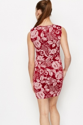Floral Graphic Bodycon Dress
