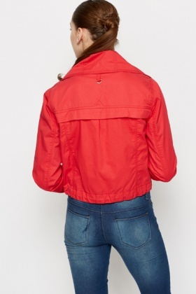 Cotton Red Zipper Jacket