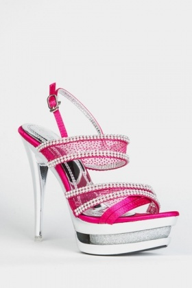 Diamante Encrusted Cut-Out Stiletto Heels