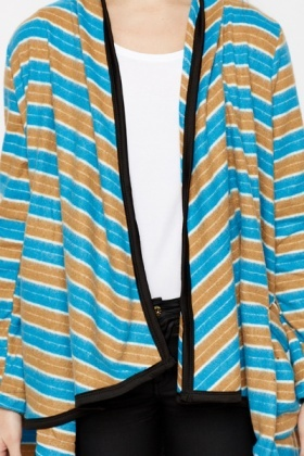 Multi Fleece Striped Poncho Cardigan