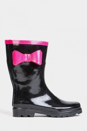 Contrast Bow Trim Wellie Boots