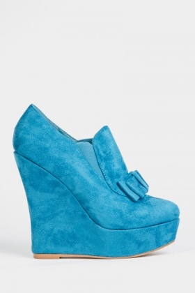 Suedette Bow Ankle Wedge Platform Shoes
