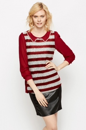 Diamante Trim Collar Knit Top