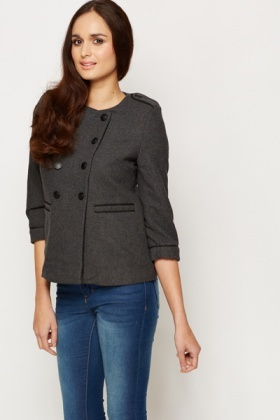 Military Style Wool Blend Coat