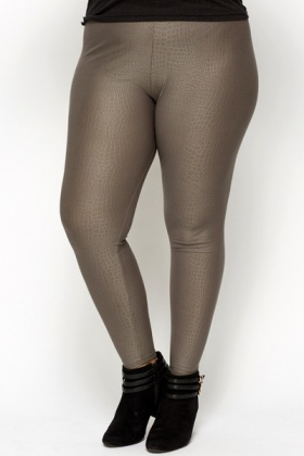Mock Croc Embossed Leggings