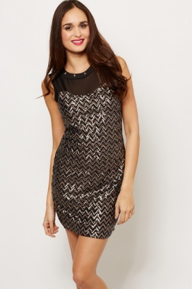 Studded Neckline Sequin Aztec Dress