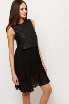Contrast PU Pleat Dress