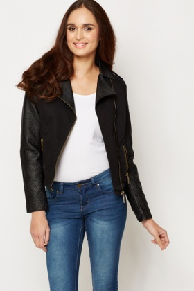 Contrast Quilted Biker Style Jacket