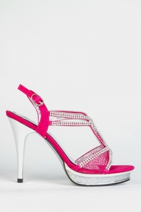 Diamante Encrusted Cut-Out Mesh Sandals