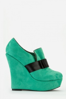 Velour Bow Front High Wedge Shoe