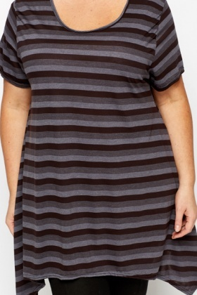 Dipped Hem Stripe Tunic