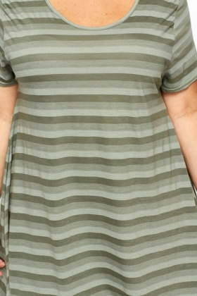 Striped Dipped Hem Olive Tunic
