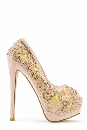 Sequin Embellished Peep Toe Shoes
