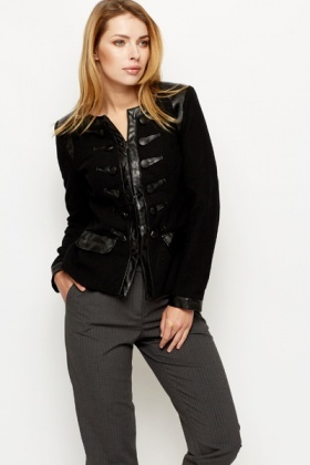 Faux Leather Trim Military Style Jacket