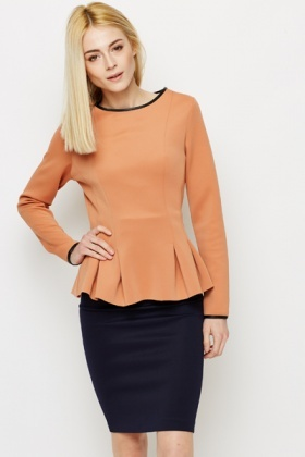 Pleated Hem Scuba Top