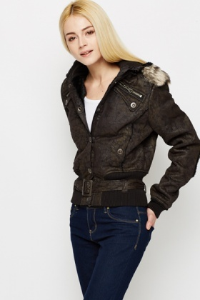 Elbow Patch Padded Winter Jacket