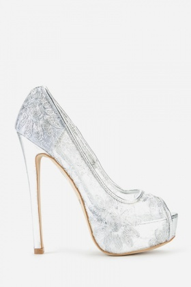 Mesh Patterned Peep Toe Stiletto