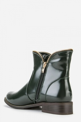 PVC Zip Side Ankle Boots