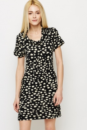 Heart Print Fleece Tunic Dress
