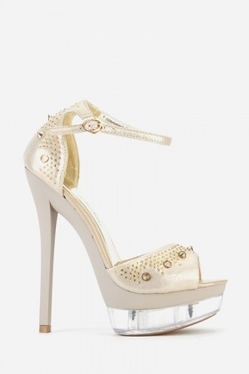 Diamante Encrusted Peep Toe Sandals