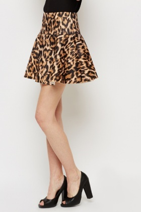 Leopard Print Mini Scuba Skirt