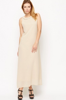 Pearl Embellished Neck Maxi Dress