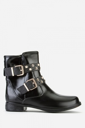 Stud Encrusted Buckle Side Ankle Boots