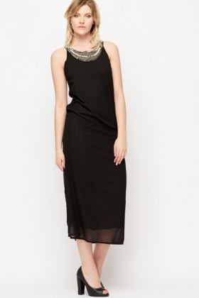 Embellished Neckline Bow Back Maxi Dress