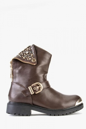 PU Leather Stud Boots