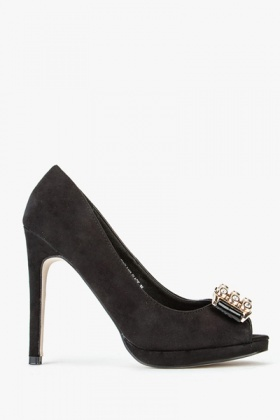 Suedette Buckle Open Toe Heels