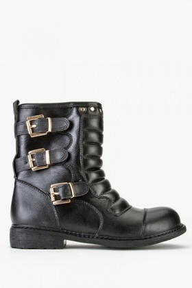 Buckled Biker PU Leather Boots