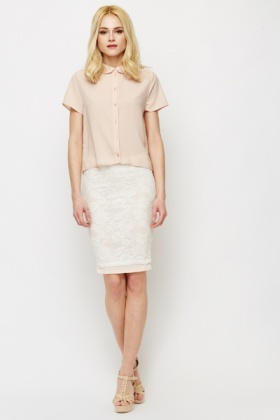 Lace Light Pink Bodycon Skirt