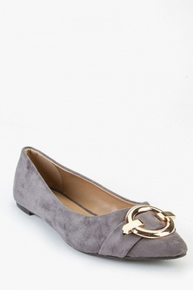 Buckled Suedette Pumps