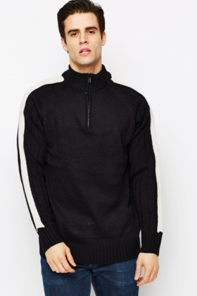 Colourblock Sleeves Zip Neck Pullover