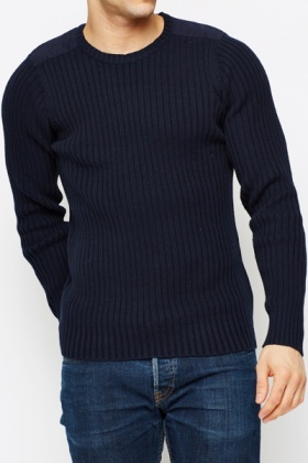 Contrast Elbow Patch Ribbed Pullover