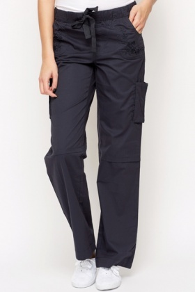 Cotton Blend Embroidered Pocket Trousers