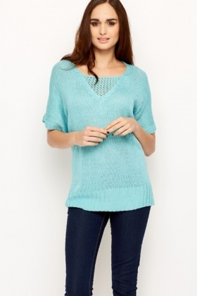 Crochet Insert Knitted Jumper