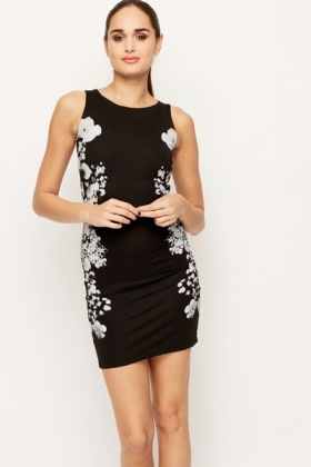 Flower Panel Slim Fit Dress