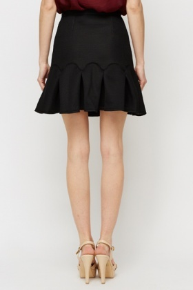 Perforated Frill Hem Scuba Skirt