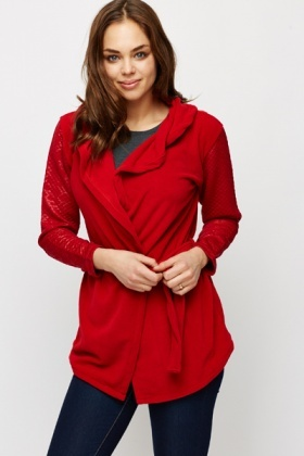 Red Quilted Sleeved Cardigan