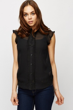 Black Sheer Button Up Blouse